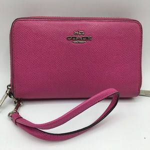 Coach Pink Pebbled Leather Wallet
